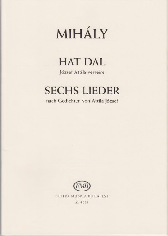 Mihály Six Songs To Poems By Attila József Online Sheet